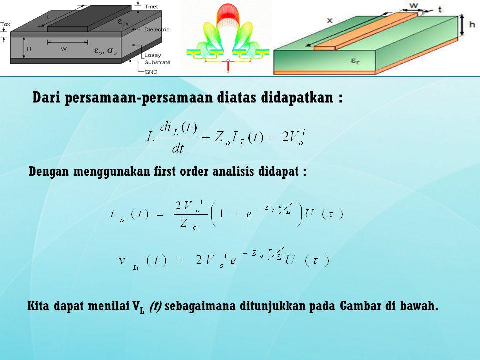 Dari persamaan-persamaan diatas didapatkan : Dengan menggunakan first order analisis didapat : Kita dapat menilai V L (t) sebagaimana ditunjukkan pada