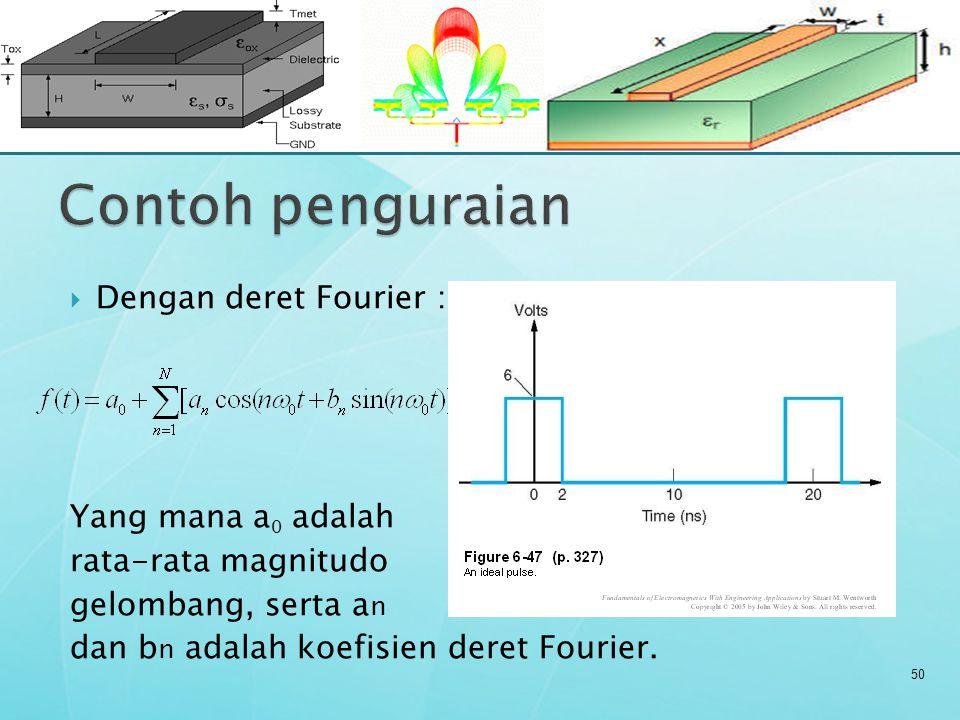 50  Dengan deret Fourier : Yang mana a 0 adalah rata-rata magnitudo gelombang, serta a n dan b n adalah koefisien deret Fourier.
