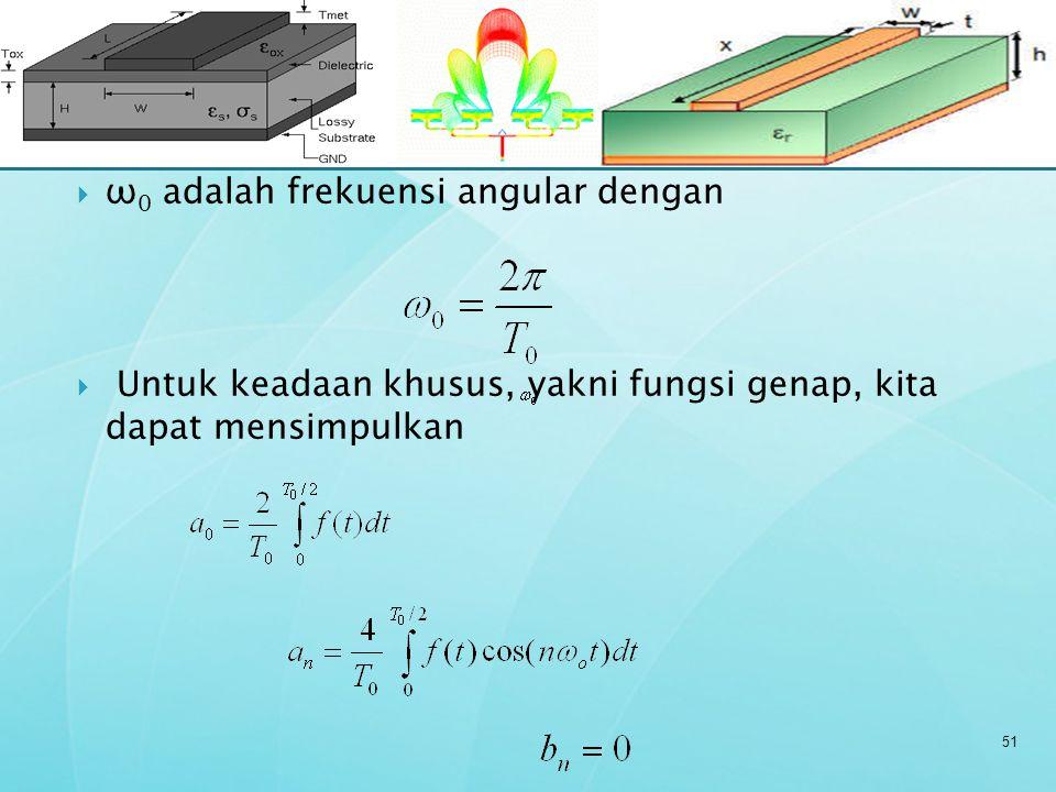  ω 0 adalah frekuensi angular dengan  Untuk keadaan khusus, yakni fungsi genap, kita dapat mensimpulkan 51