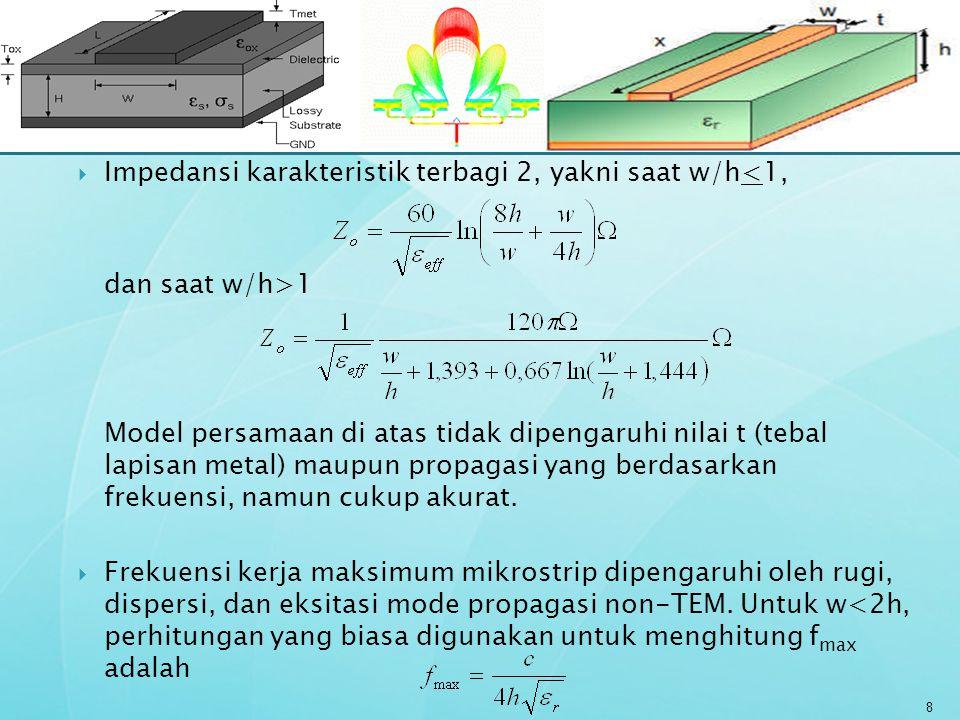 Impedansi karakteristik terbagi 2, yakni saat w/h<1, dan saat w/h>1 Model persamaan di atas tidak dipengaruhi nilai t (tebal lapisan metal) maupun p