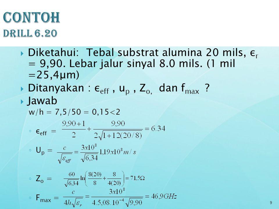  Diketahui: Tebal substrat alumina 20 mils, ε r = 9,90. Lebar jalur sinyal 8.0 mils. (1 mil =25,4μm)  Ditanyakan : ε eff, u p, Z o, dan f max ?  Ja