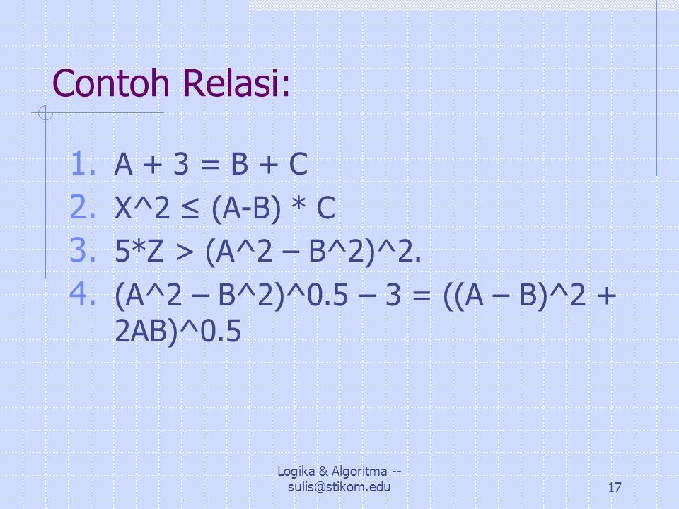 Logika & Algoritma -- sulis@stikom.edu17 Contoh Relasi: 1.