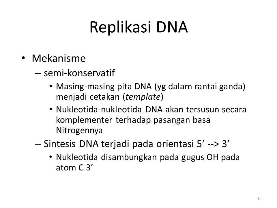Replikasi DNA Mekanisme – semi-konservatif Masing-masing pita DNA (yg dalam rantai ganda) menjadi cetakan (template) Nukleotida-nukleotida DNA akan te