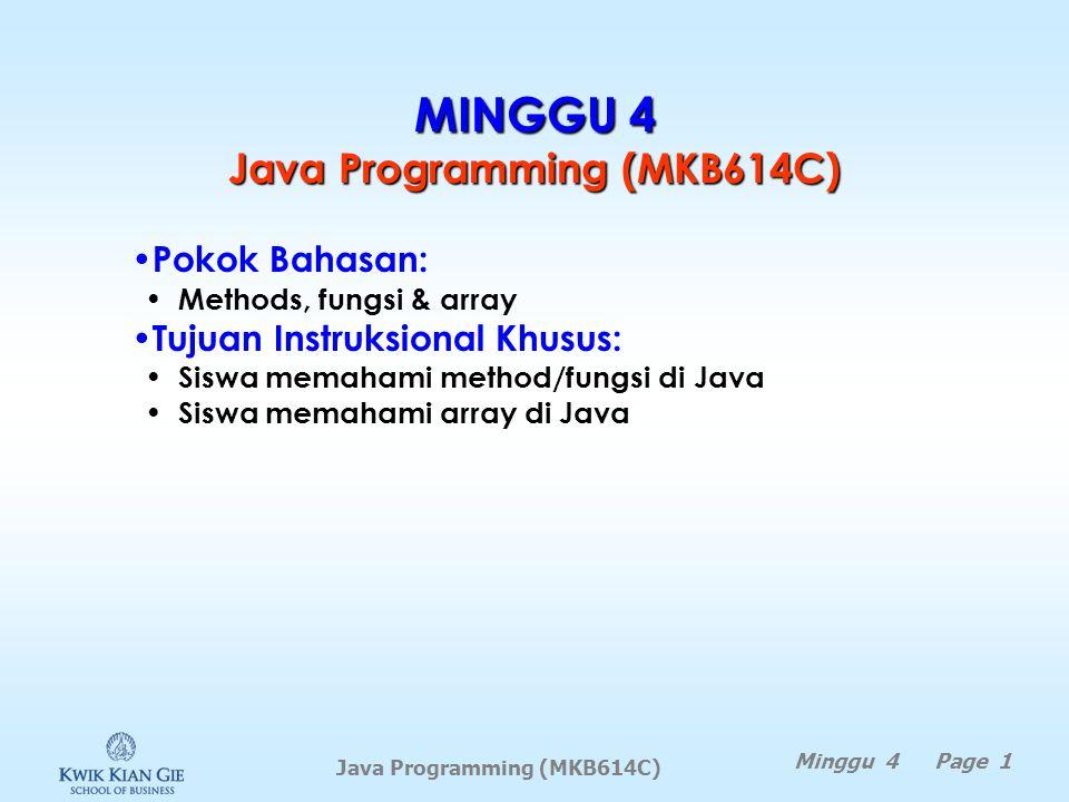 Contoh copy dengan clone double myList[] = {13.5, 10.4, 1.5}; for (double e: myList) { System.out.println(e); } double myList1[]; System.out.println(); myList1 = myList.clone(); for (double e: myList1) { System.out.println(e); }