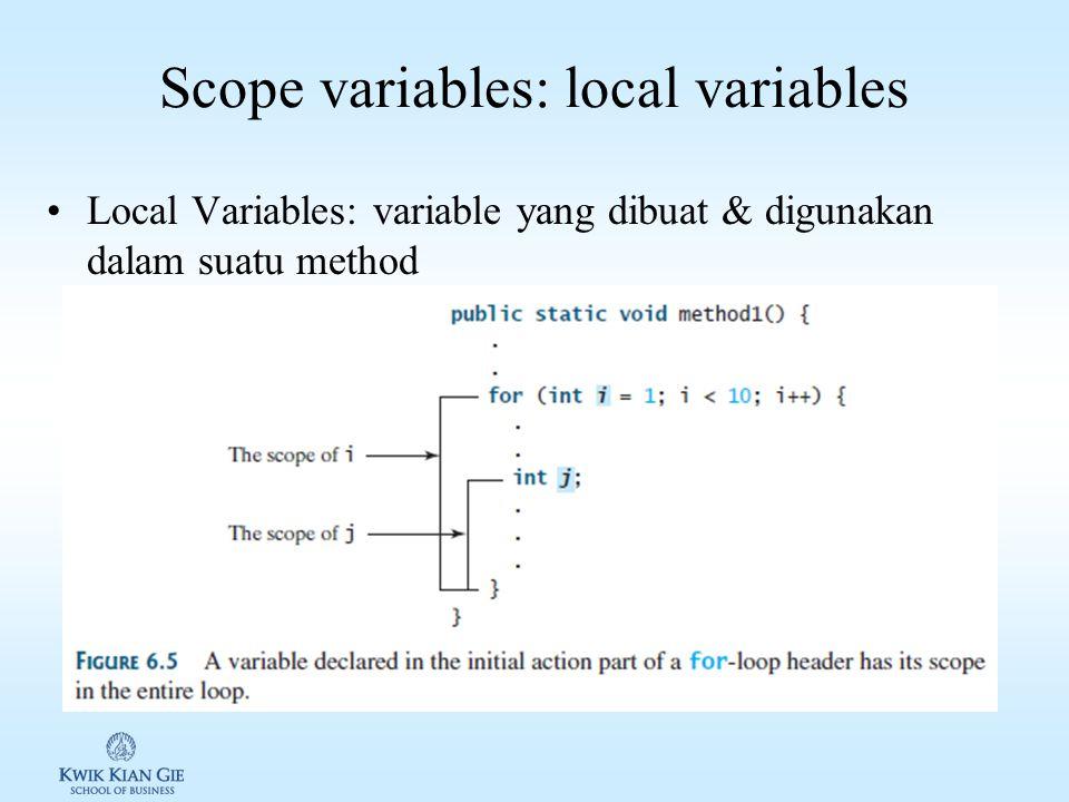 Overloading method/function Overloading method/function memungkinkan untuk mendefinisikan method/function dengan nama yang sama, namun memiliki karakter/penanda yang berbeda Contoh: /** Return the max of two int values */ public static int max(int num1, int num2) { if (num1 > num2) return num1; else return num2; } /** Find the max of two double values */ public static double max(double num1, double num2) { if (num1 > num2) return num1; else return num2; } /** Return the max of three double values */ public static double max(double num1, double num2, double num3) { return max(max(num1, num2), num3); }