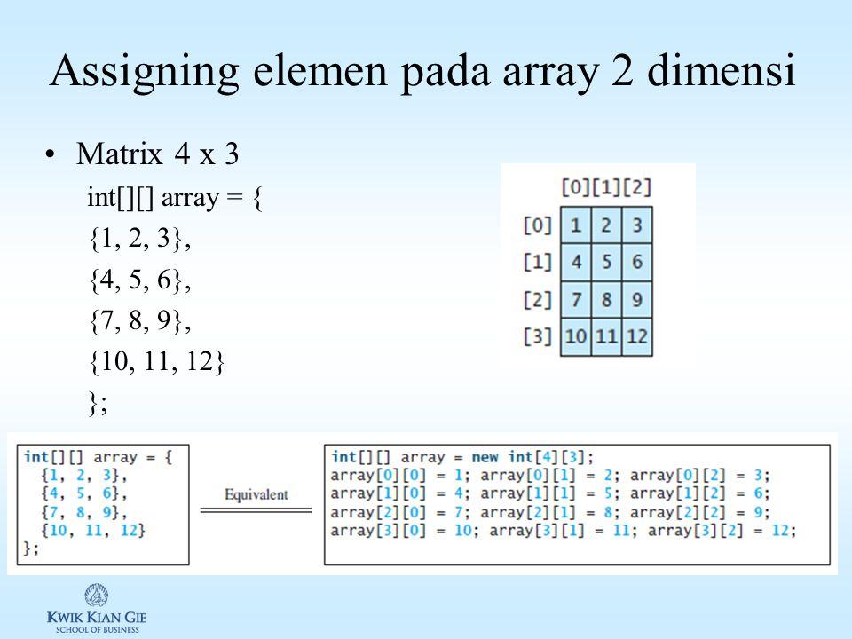 Deklarasi pada array 2 dimensi Elemen pada array 2 dimensi diakses melalui baris dan kolom.