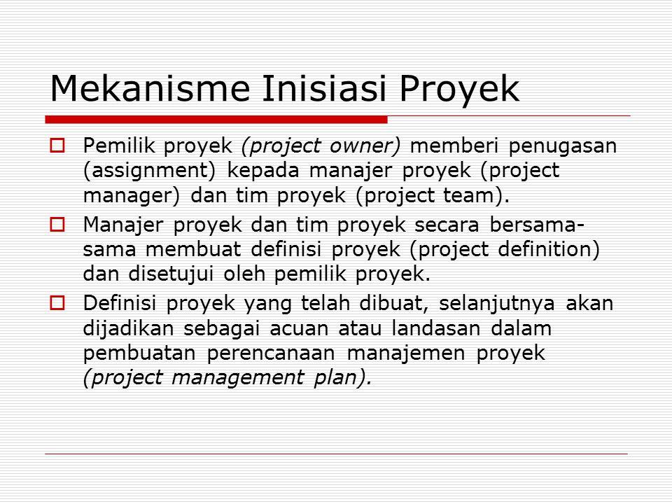 Mekanisme Inisiasi Proyek  Pemilik proyek (project owner) memberi penugasan (assignment) kepada manajer proyek (project manager) dan tim proyek (proj