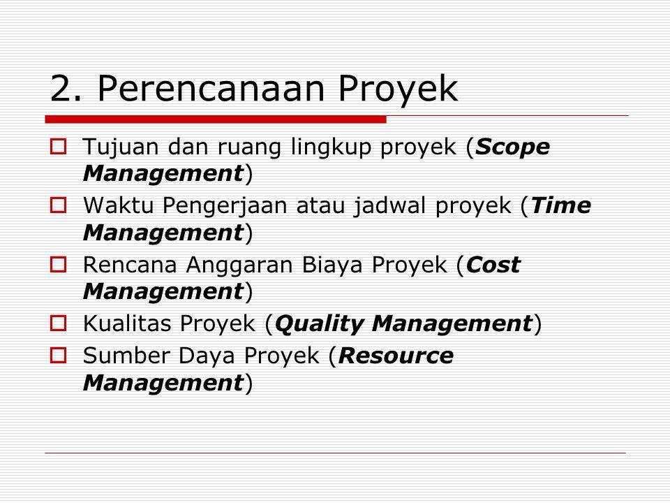 2. Perencanaan Proyek  Tujuan dan ruang lingkup proyek (Scope Management)  Waktu Pengerjaan atau jadwal proyek (Time Management)  Rencana Anggaran