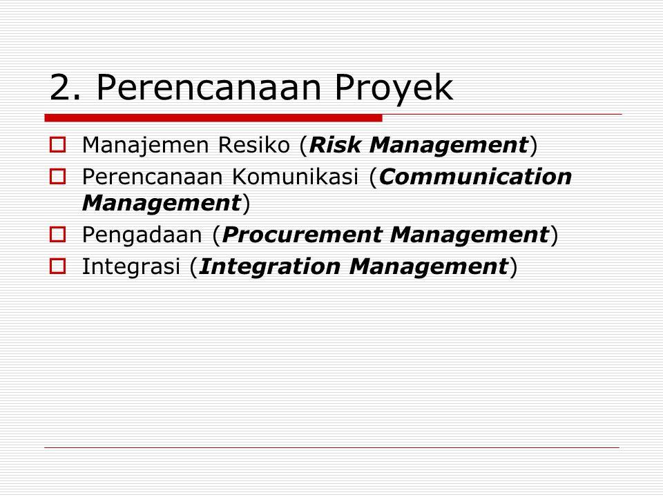 2. Perencanaan Proyek  Manajemen Resiko (Risk Management)  Perencanaan Komunikasi (Communication Management)  Pengadaan (Procurement Management) 
