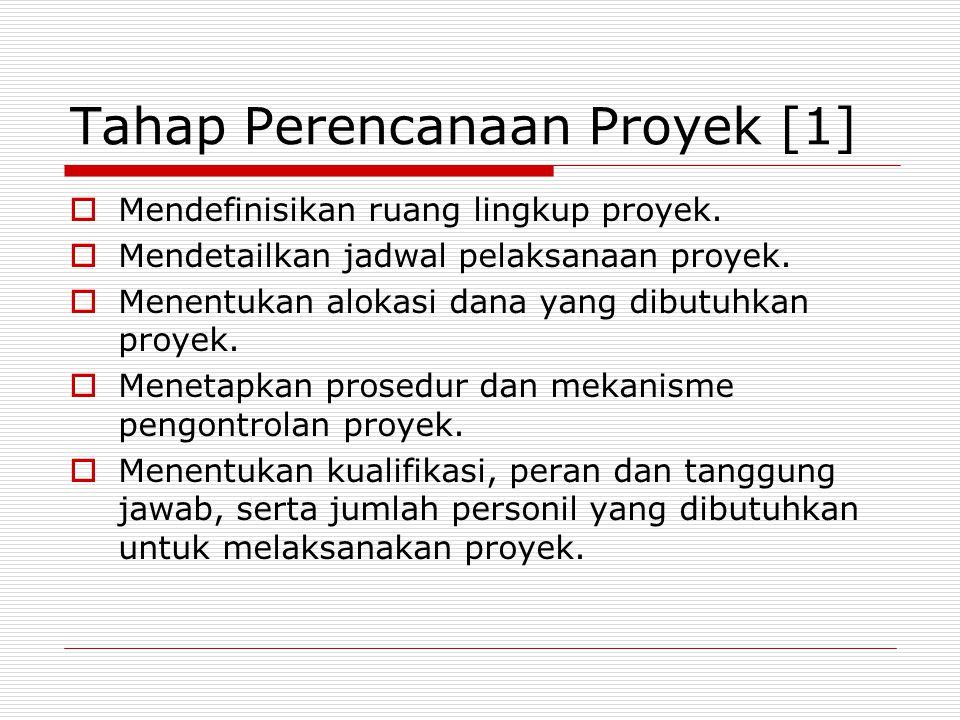 Tahap Perencanaan Proyek [1]  Mendefinisikan ruang lingkup proyek.  Mendetailkan jadwal pelaksanaan proyek.  Menentukan alokasi dana yang dibutuhka