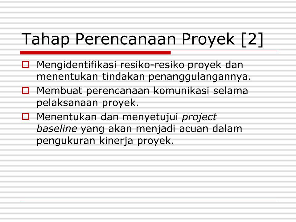 Tahap Perencanaan Proyek [2]  Mengidentifikasi resiko-resiko proyek dan menentukan tindakan penanggulangannya.  Membuat perencanaan komunikasi selam