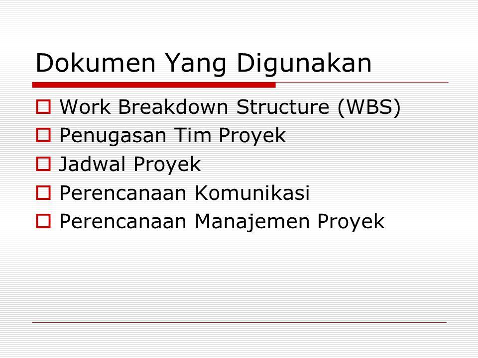 Dokumen Yang Digunakan  Work Breakdown Structure (WBS)  Penugasan Tim Proyek  Jadwal Proyek  Perencanaan Komunikasi  Perencanaan Manajemen Proyek