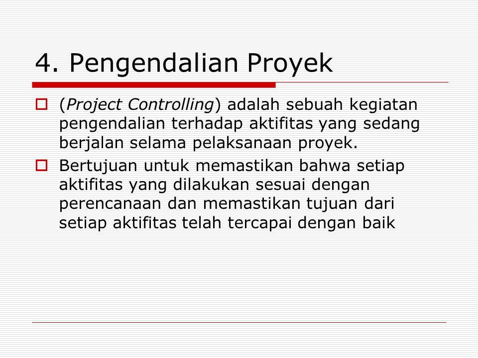 4. Pengendalian Proyek  (Project Controlling) adalah sebuah kegiatan pengendalian terhadap aktifitas yang sedang berjalan selama pelaksanaan proyek.