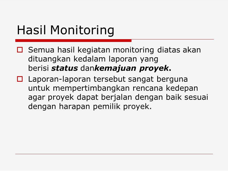 Hasil Monitoring  Semua hasil kegiatan monitoring diatas akan dituangkan kedalam laporan yang berisi status dankemajuan proyek.  Laporan-laporan ter