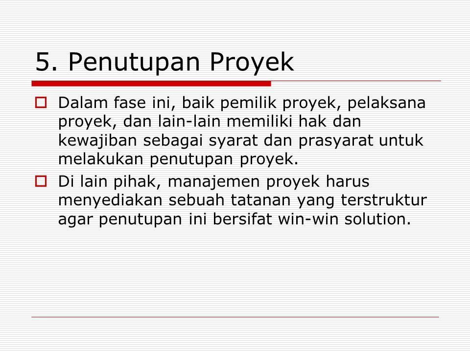 5. Penutupan Proyek  Dalam fase ini, baik pemilik proyek, pelaksana proyek, dan lain-lain memiliki hak dan kewajiban sebagai syarat dan prasyarat unt