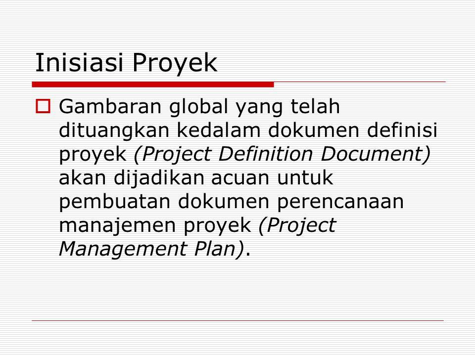 Inisiasi Proyek  Gambaran global yang telah dituangkan kedalam dokumen definisi proyek (Project Definition Document) akan dijadikan acuan untuk pembu