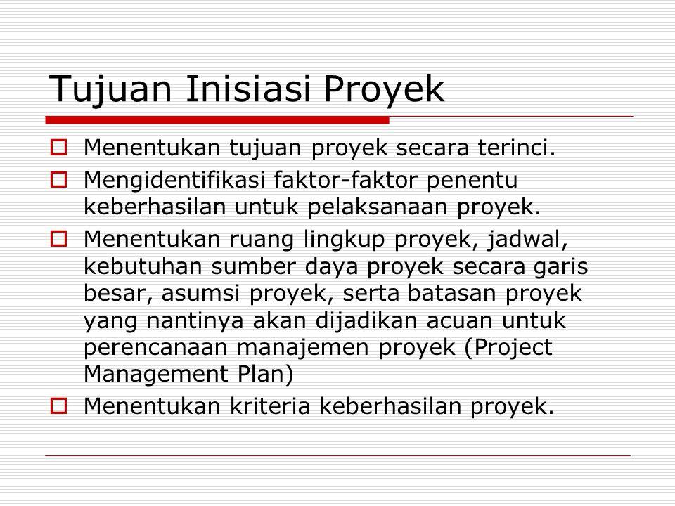 Tujuan Inisiasi Proyek  Menentukan tujuan proyek secara terinci.  Mengidentifikasi faktor-faktor penentu keberhasilan untuk pelaksanaan proyek.  Me