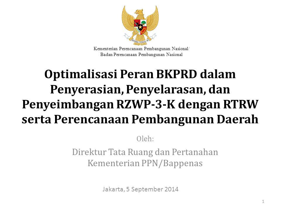 Kementerian PPN/Bappenas Roadmap Integrasi RZWP-3-K ke dalam RTRW(1) Wilayah RPJMN IIRPJMN III 2010201120122013201420152016201720182019 Kabupaten Pandeglang ARTRW PERDA RTRW Kajian PK RTRW PK RTRW BRZWP-3-K Kajian Penyusunan RZWP-3-K Kajian Penyusunan RZWP-3-K Dokumen Final RZWP-3-K C Usulan tahun integrasi Integrasi muatan RZWP-3-K ke dalam PK RTRW 12