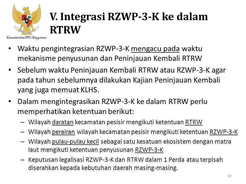 Kementerian PPN/Bappenas V. Integrasi RZWP-3-K ke dalam RTRW Waktu pengintegrasian RZWP-3-K mengacu pada waktu mekanisme penyusunan dan Peninjauan Kem