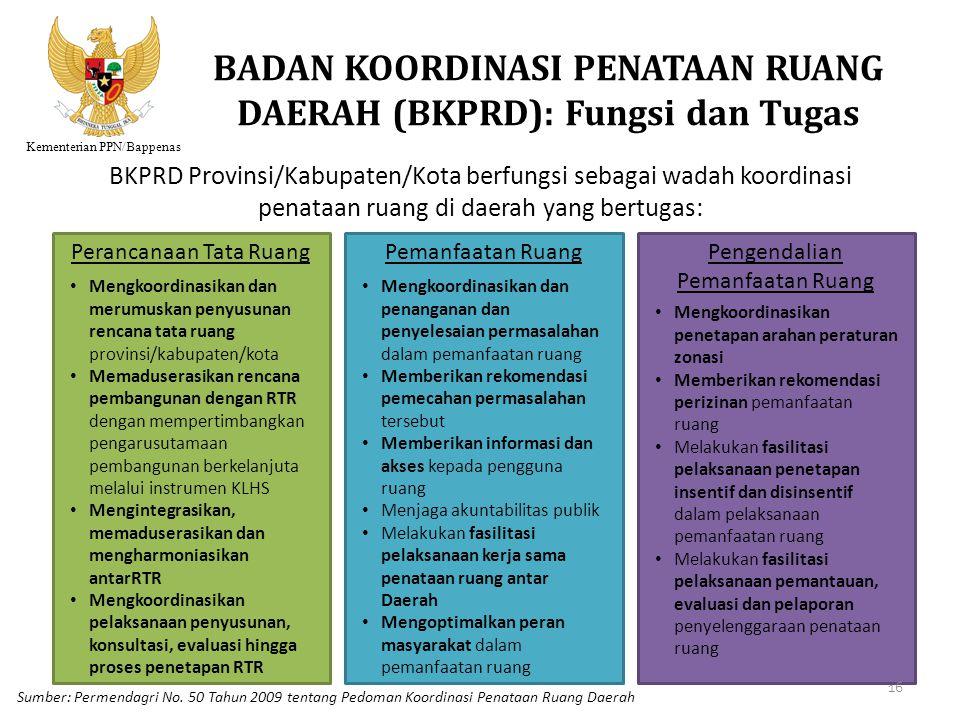 Kementerian PPN/Bappenas BADAN KOORDINASI PENATAAN RUANG DAERAH (BKPRD): Fungsi dan Tugas BKPRD Provinsi/Kabupaten/Kota berfungsi sebagai wadah koordi