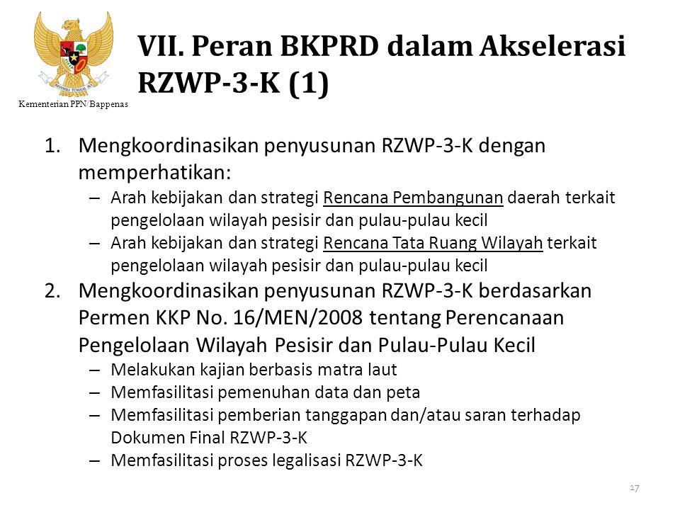 Kementerian PPN/Bappenas VII. Peran BKPRD dalam Akselerasi RZWP-3-K (1) 1.Mengkoordinasikan penyusunan RZWP-3-K dengan memperhatikan: – Arah kebijakan