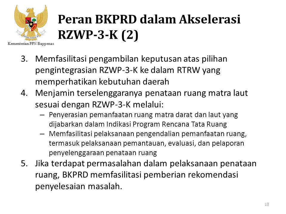 Kementerian PPN/Bappenas Peran BKPRD dalam Akselerasi RZWP-3-K (2) 3.Memfasilitasi pengambilan keputusan atas pilihan pengintegrasian RZWP-3-K ke dala