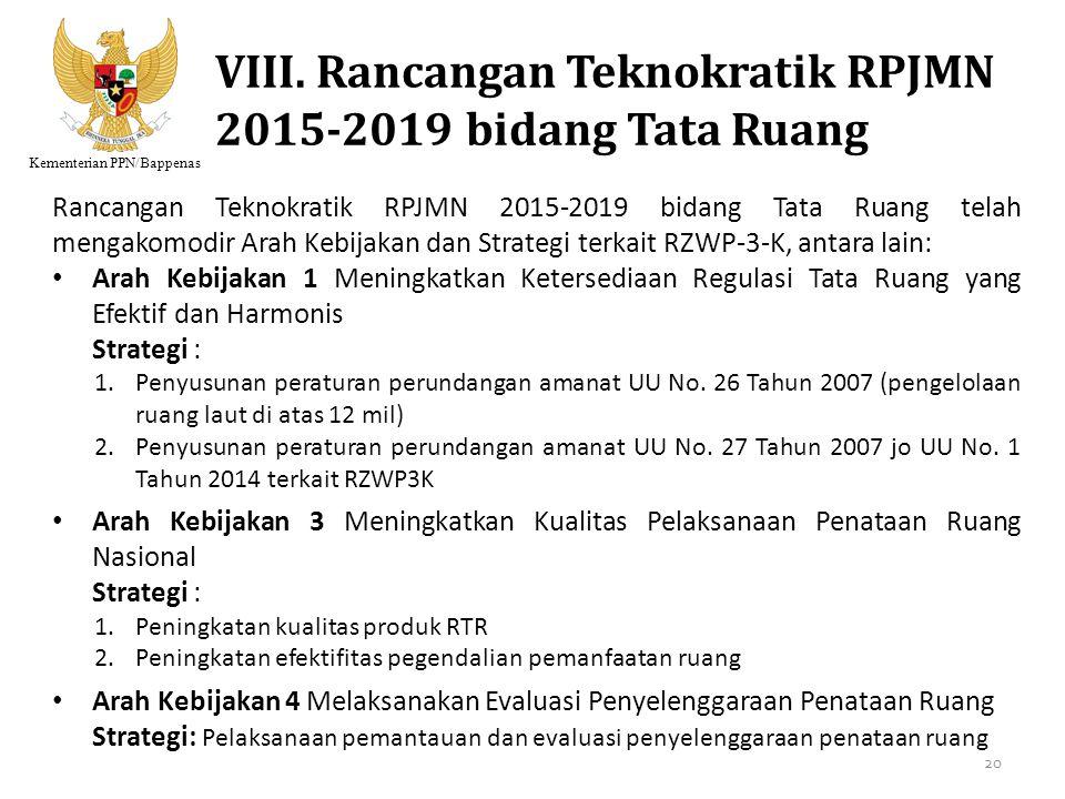 Kementerian PPN/Bappenas VIII. Rancangan Teknokratik RPJMN 2015-2019 bidang Tata Ruang Rancangan Teknokratik RPJMN 2015-2019 bidang Tata Ruang telah m