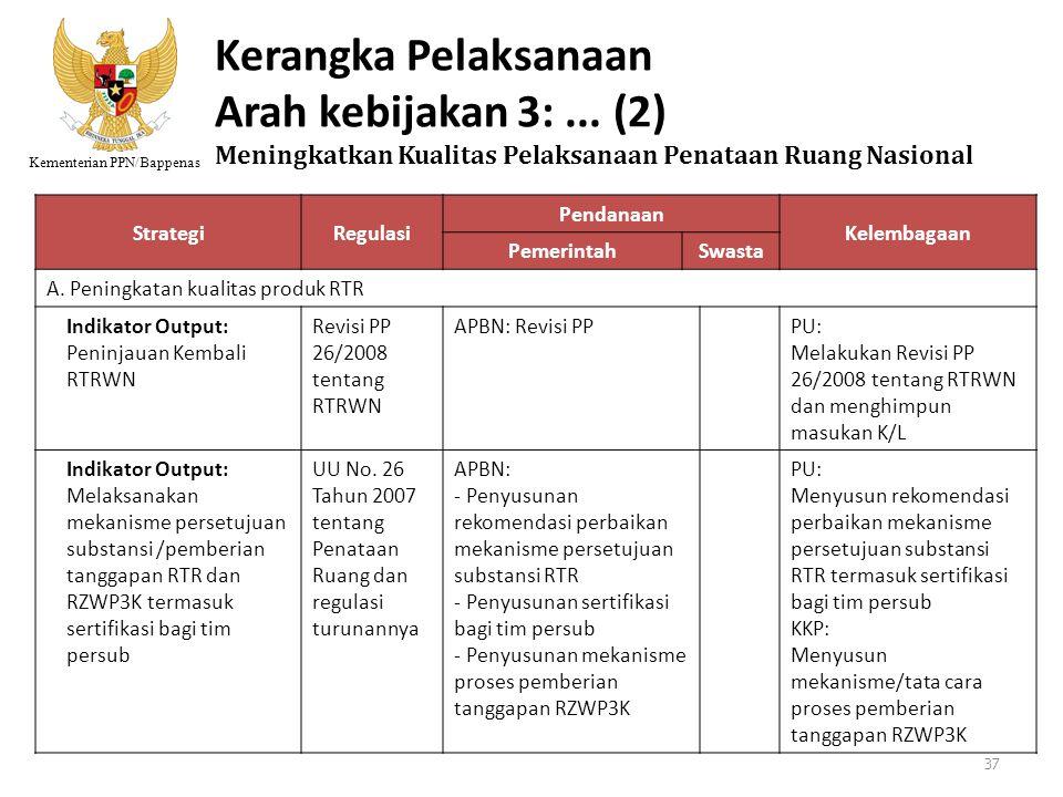 Kementerian PPN/Bappenas Kerangka Pelaksanaan Arah kebijakan 3:... (2) Meningkatkan Kualitas Pelaksanaan Penataan Ruang Nasional StrategiRegulasi Pend