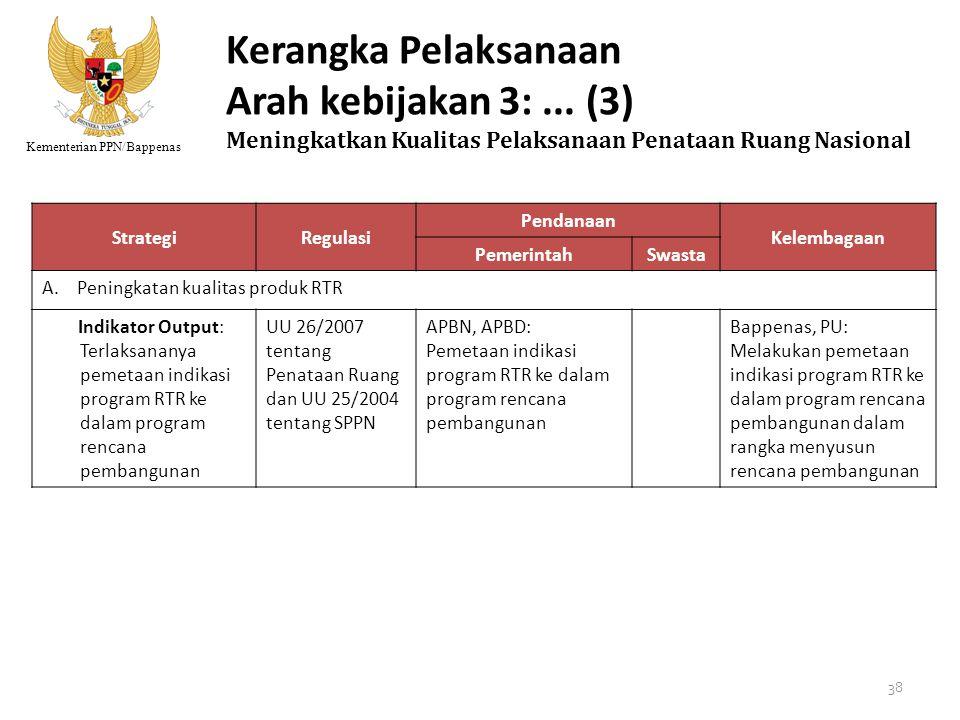 Kementerian PPN/Bappenas Kerangka Pelaksanaan Arah kebijakan 3:... (3) Meningkatkan Kualitas Pelaksanaan Penataan Ruang Nasional StrategiRegulasi Pend