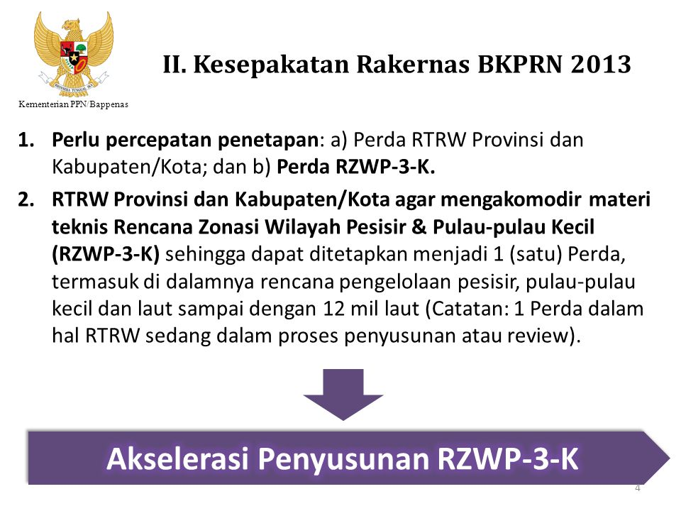 Kementerian PPN/Bappenas II. Kesepakatan Rakernas BKPRN 2013 1.Perlu percepatan penetapan: a) Perda RTRW Provinsi dan Kabupaten/Kota; dan b) Perda RZW