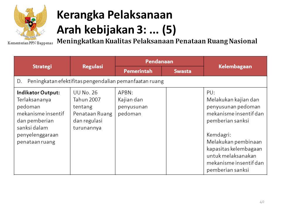 Kementerian PPN/Bappenas Kerangka Pelaksanaan Arah kebijakan 3:... (5) Meningkatkan Kualitas Pelaksanaan Penataan Ruang Nasional StrategiRegulasi Pend