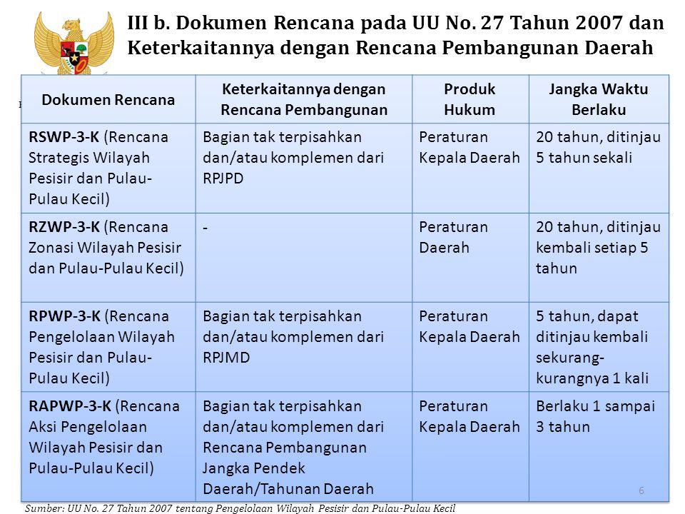 Kementerian PPN/Bappenas III b. Dokumen Rencana pada UU No. 27 Tahun 2007 dan Keterkaitannya dengan Rencana Pembangunan Daerah Sumber: UU No. 27 Tahun