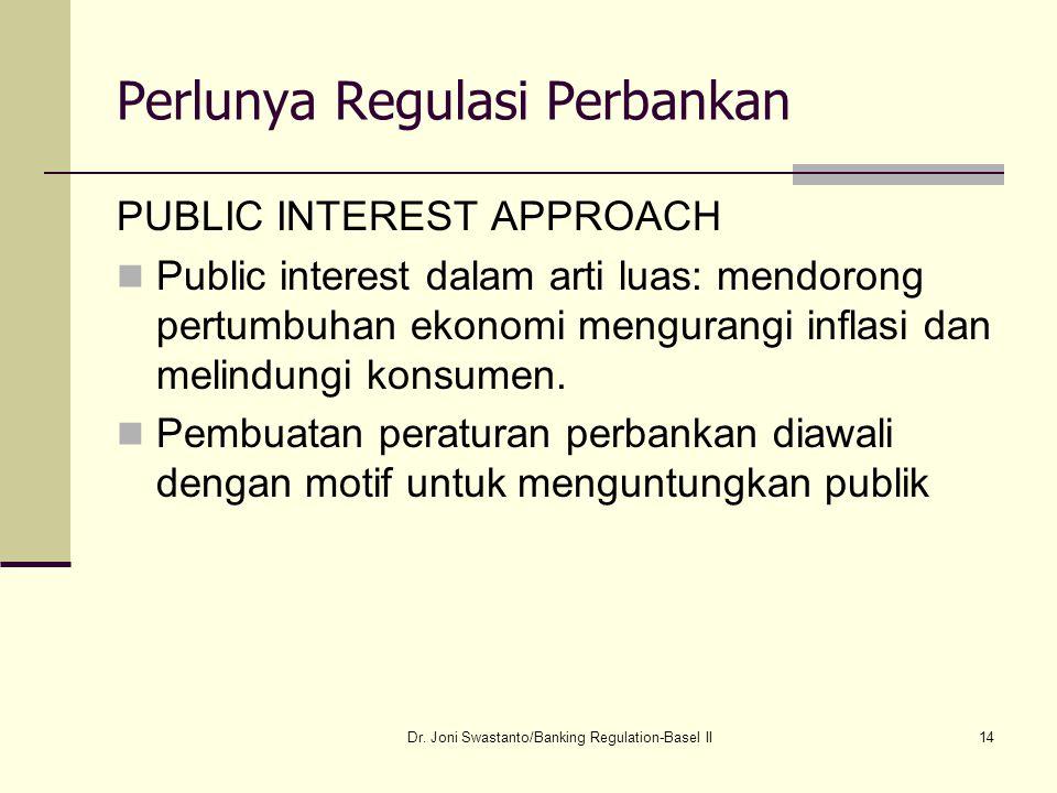 14 Perlunya Regulasi Perbankan PUBLIC INTEREST APPROACH Public interest dalam arti luas: mendorong pertumbuhan ekonomi mengurangi inflasi dan melindun