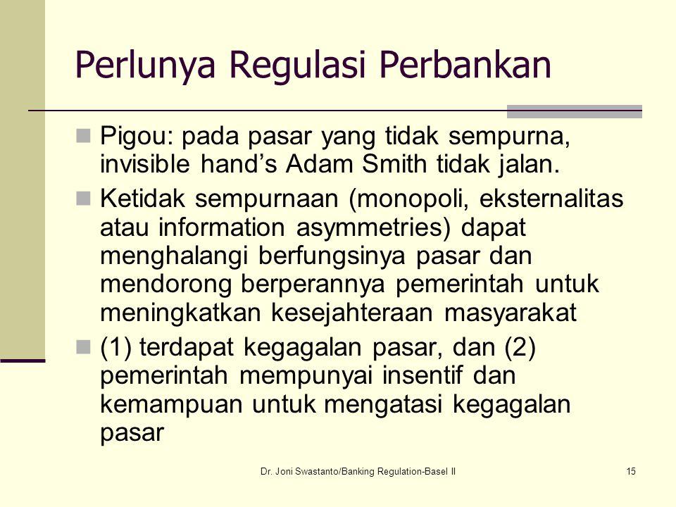 15 Perlunya Regulasi Perbankan Pigou: pada pasar yang tidak sempurna, invisible hand's Adam Smith tidak jalan. Ketidak sempurnaan (monopoli, eksternal