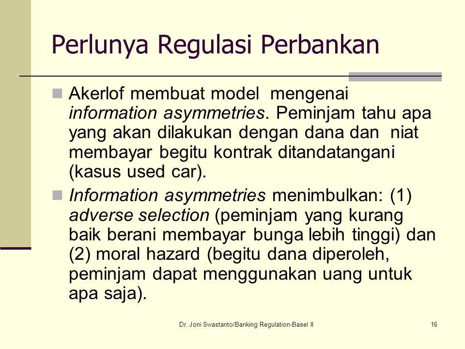 16 Perlunya Regulasi Perbankan Akerlof membuat model mengenai information asymmetries. Peminjam tahu apa yang akan dilakukan dengan dana dan niat memb