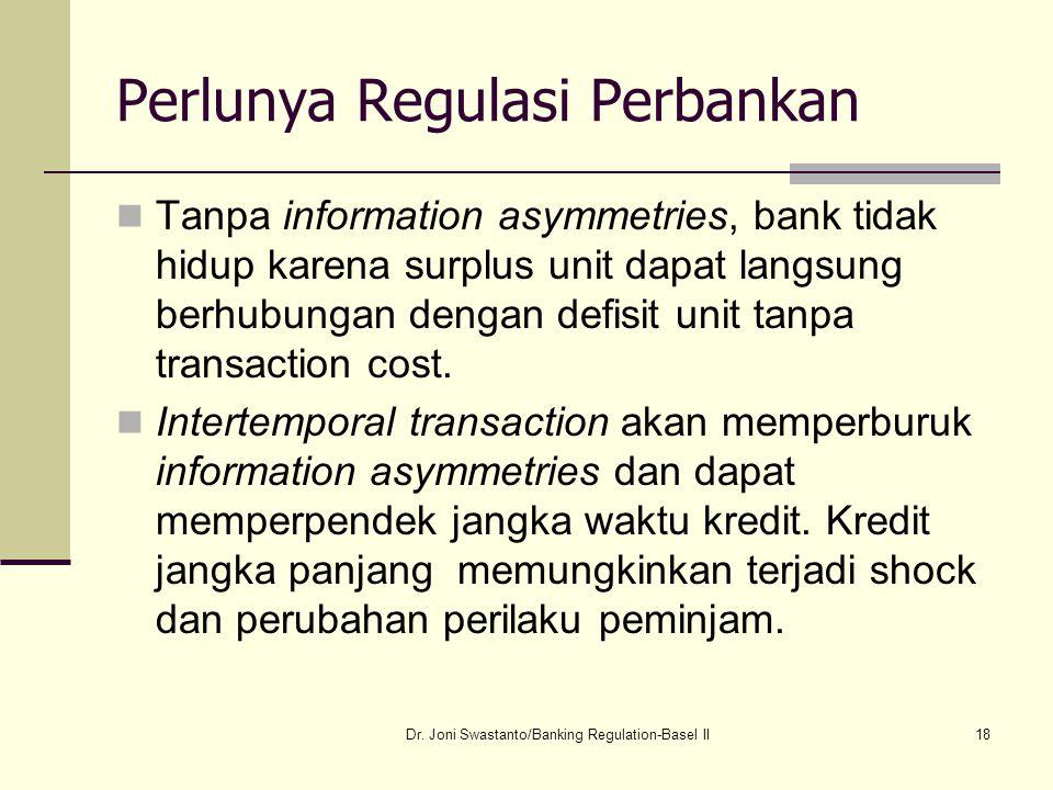 18 Perlunya Regulasi Perbankan Tanpa information asymmetries, bank tidak hidup karena surplus unit dapat langsung berhubungan dengan defisit unit tanp