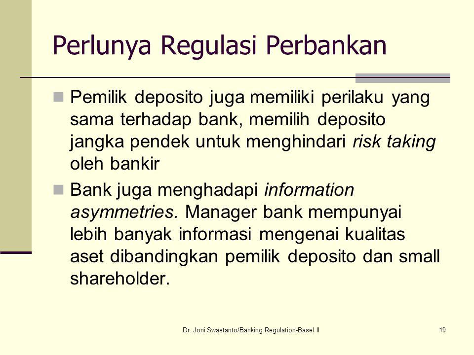 19 Perlunya Regulasi Perbankan Pemilik deposito juga memiliki perilaku yang sama terhadap bank, memilih deposito jangka pendek untuk menghindari risk