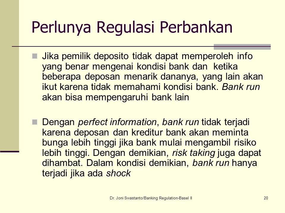 20 Perlunya Regulasi Perbankan Jika pemilik deposito tidak dapat memperoleh info yang benar mengenai kondisi bank dan ketika beberapa deposan menarik
