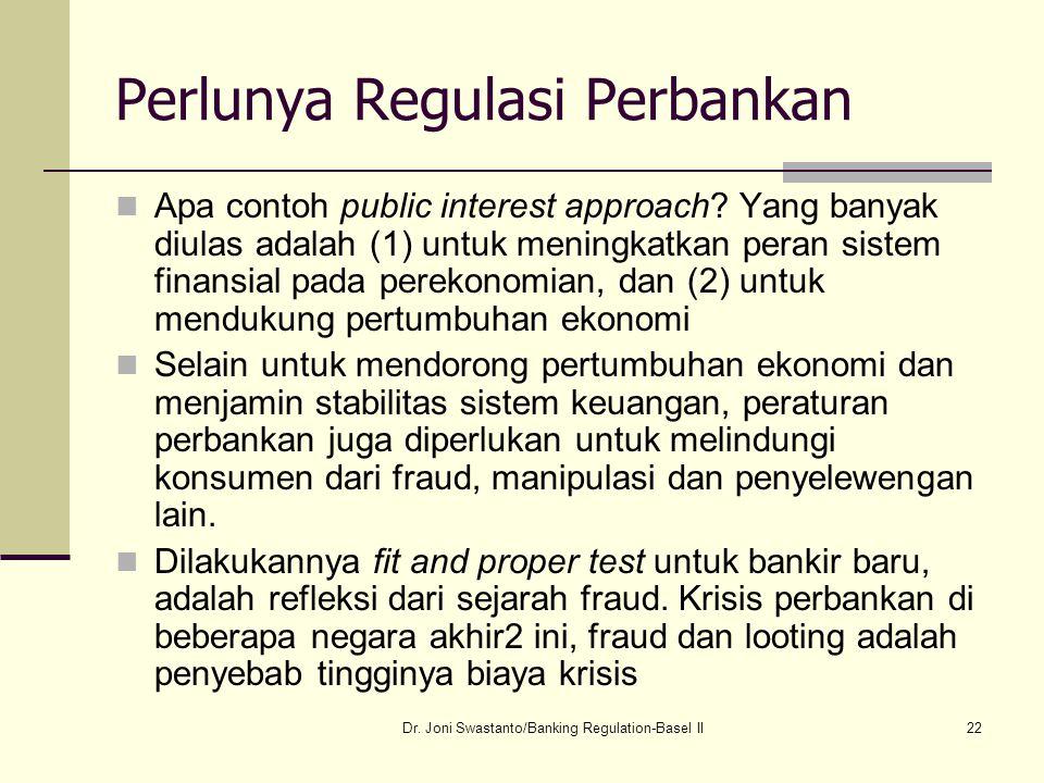 22 Perlunya Regulasi Perbankan Apa contoh public interest approach? Yang banyak diulas adalah (1) untuk meningkatkan peran sistem finansial pada perek