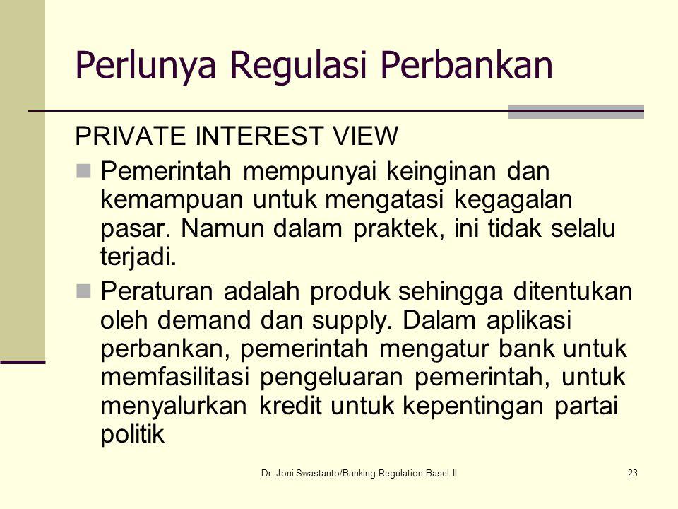 23 Perlunya Regulasi Perbankan PRIVATE INTEREST VIEW Pemerintah mempunyai keinginan dan kemampuan untuk mengatasi kegagalan pasar. Namun dalam praktek