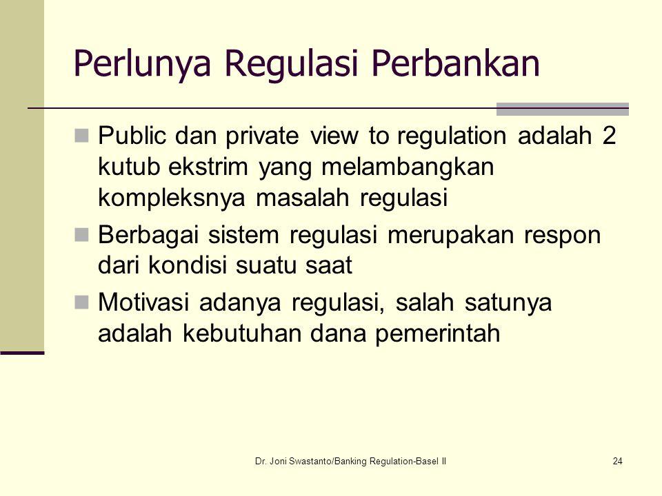 24 Perlunya Regulasi Perbankan Public dan private view to regulation adalah 2 kutub ekstrim yang melambangkan kompleksnya masalah regulasi Berbagai si