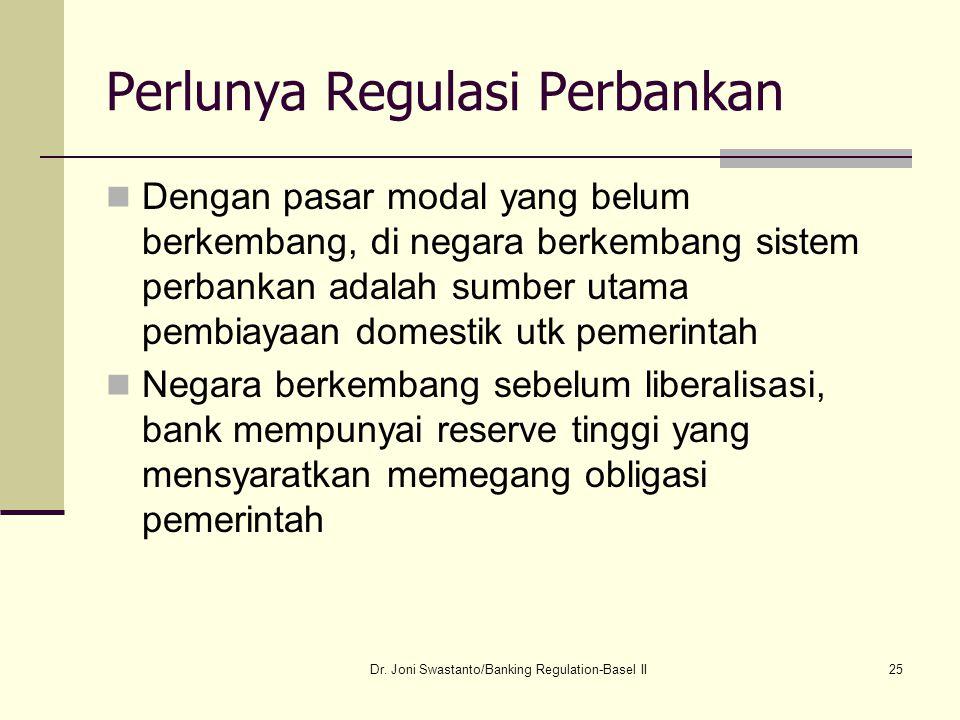 25 Perlunya Regulasi Perbankan Dengan pasar modal yang belum berkembang, di negara berkembang sistem perbankan adalah sumber utama pembiayaan domestik