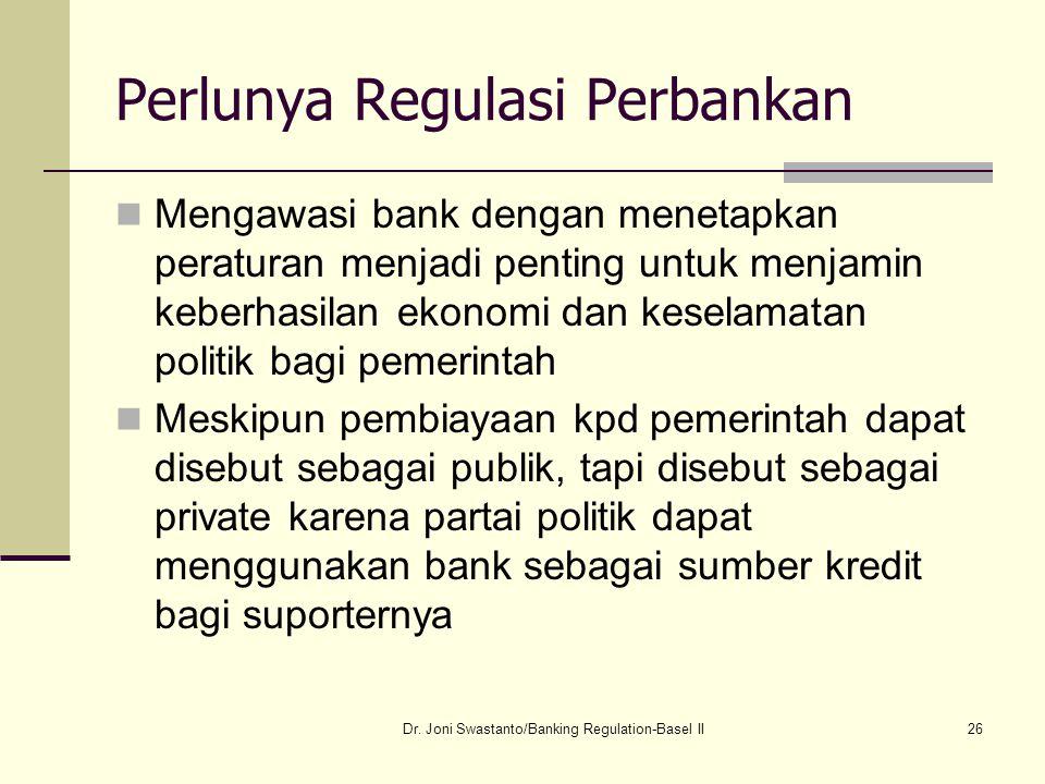26 Perlunya Regulasi Perbankan Mengawasi bank dengan menetapkan peraturan menjadi penting untuk menjamin keberhasilan ekonomi dan keselamatan politik