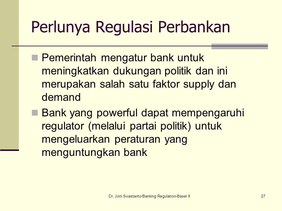 27 Perlunya Regulasi Perbankan Pemerintah mengatur bank untuk meningkatkan dukungan politik dan ini merupakan salah satu faktor supply dan demand Bank