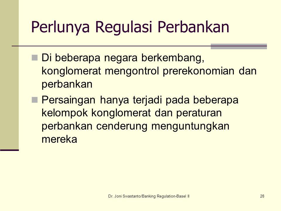 28 Perlunya Regulasi Perbankan Di beberapa negara berkembang, konglomerat mengontrol prerekonomian dan perbankan Persaingan hanya terjadi pada beberap