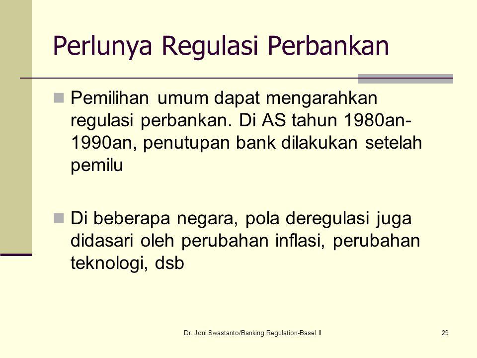 29 Perlunya Regulasi Perbankan Pemilihan umum dapat mengarahkan regulasi perbankan. Di AS tahun 1980an- 1990an, penutupan bank dilakukan setelah pemil