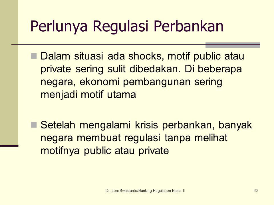 30 Perlunya Regulasi Perbankan Dalam situasi ada shocks, motif public atau private sering sulit dibedakan. Di beberapa negara, ekonomi pembangunan ser