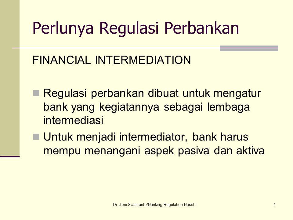 5 Perlunya Regulasi Perbankan Intermediasi keuangan penting karena menghubungkan kreditur dan peminjam,  mempengaruhi fungsi pasar keuangan, uang beredar dan pertumbuhan ekonomi Pada tingkat mikroekonomi, financial intermediaries (FI) mengubah bentuk dana menjadi kredit atau surat berharga Dr.