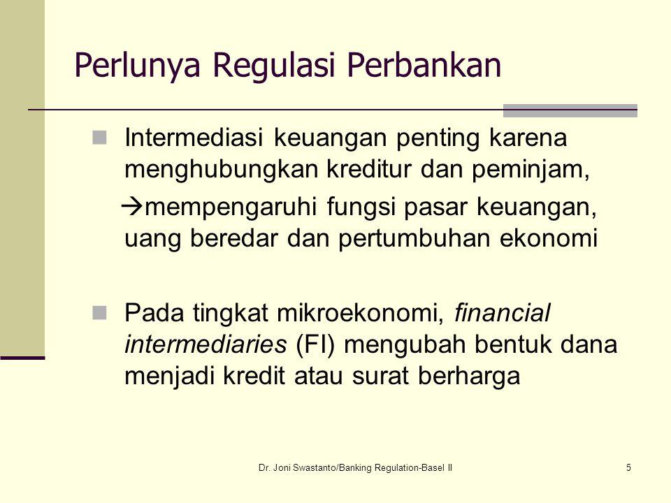 5 Perlunya Regulasi Perbankan Intermediasi keuangan penting karena menghubungkan kreditur dan peminjam,  mempengaruhi fungsi pasar keuangan, uang ber