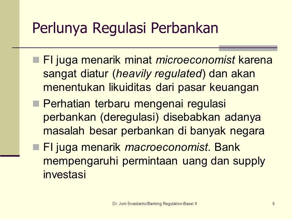 6 Perlunya Regulasi Perbankan FI juga menarik minat microeconomist karena sangat diatur (heavily regulated) dan akan menentukan likuiditas dari pasar